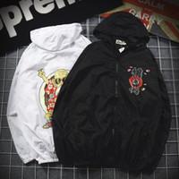 Wholesale mens chinese coat - Summer Windbreaker Chinese Kanji Bomber Jacket Thin Print Men Hooded Jackets Women Coat Mens Bomber Ma1 Jacket