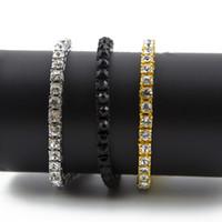 bracelet en diamant achat en gros de-Glacé 1 Rangée Strass Bracelet Hommes Hip Hop Style Transparent Diamant Simulé 8