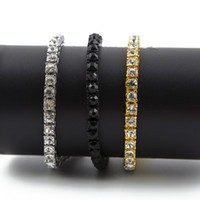 "Wholesale Gold Diamond Bezel - Iced Out 1 Row Rhinestones Bracelet Men's Hip Hop Style Clear Simulated Diamond 8"" Bracelet Bling Bling"