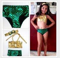 ingrosso costumi sirena bambino-2016 Nuova Vendita Calda Cute Girls Mermaid Bikini Costume Da Bagno Per Bambini Costume Da Bagno Costumi Da Bagno Costumi Da Bagno 3 pz / set Bambini Costumi Da Bagno Per 2-7years