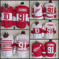 Wholesale Mens Hockey Jerseys - Factory Price Mens Detroit Red Wings Jerseys #91 Sergei Fedorov CCM Vintage Ice Hockey Jersey,100% Embroidery and Sewing Logos