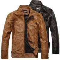 Wholesale Mens Leather Biker Jacket Xl - Men Motorcycle Biker leather jacket mens jaqueta de couro masculina leather jacket Windbreak Fleece coats Plus Size