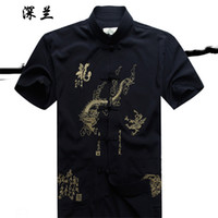 Wholesale Traditional White Costume - Wholesale-New Blue Traditional Chinese Style Men's Kung Fu Costume Shirt Top with Embroidery Dragon Size S M L XL XXL XXXL Free Shipping