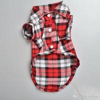 bandanas halloween pour animaux de compagnie achat en gros de-Chemise à carreaux style pour animaux en tissu mignon Pet printemps et vêtements d'été vêtements pour chien plusieurs couleurs et tailles