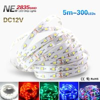 Wholesale more brighter - 5M  Roll SMD 2835 More Brighter Than 3528 SMD LED Strip Light DC 12V 60LEDs M Indoor Decorative Tape White RGB
