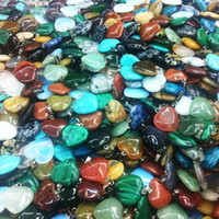 Wholesale Diy Gemstone Necklace - Natural heart shape love gemstone Stone mixed Pendants Loose Beads for Bracelets and Necklace Charms DIY Jewelry