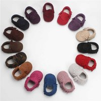 Wholesale Soft Leather Toddler Shoes Sale - Hot Sale Genuine Cashmere Leather Baby Moccasins Tassels First Walking Shoes Soft Sole 16 Colors Infant Toddler Shoes