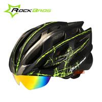 Wholesale Rockbros White - Wholesale-RockBros Cycling Helmet 11 Colors 32 Holes Goggles Designer MTB Road Bike Helmet 3 Pairs of Lens Bicycle Helmet Casco Ciclismo