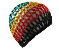 Wholesale free crochet hair accessories - Rasta crochet Kufi hat Womens Turban Wrap Hair Net Hair Snood women sleeping cap Crochet Hair Accessories