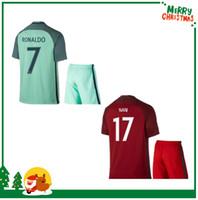 Wholesale Kid Boy Wearing Shirt Short - 2016 RONALDO kids boy kit PEPE Home Red Soccer Jerseys Shirt,F. COENTRAO #5 Football Jersey,J. MOUTINHO #8 MIGUEL #4 Soccer Wear