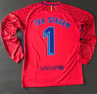 Wholesale Goalkeeper Long Sleeve - Ter Stegen 2017 2018 Club home away red soccer jerseys Goalkeeper Goalie GK Door man full long sleeve shirts uniforms football kits