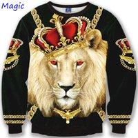 Wholesale Magic Sleeves - Wholesale-[Magic] New Arrival ! sweatshirt men Crown lion 3D printed women hoodies fashion long sleeve round neck Men's Clothing M8010