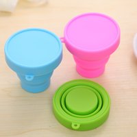 Wholesale Retractable Folding Cup - 2016 4 Colors Outdoor Travel Silicone Retractable Folding Cup Telescopic Collapsible Travel Cup Drinkware Water Cup(8X4.3X7CM)