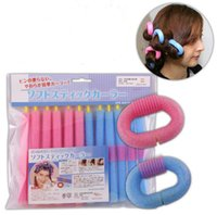 Compra Bendy Rollers Di Gomma Piuma Arricciati Capelli-12 Pz / Set New Soft Foam Bendy Bigodini Bigodini Cling Rosa E Blu Bendy Rollers Flexi Magic Sticks