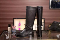 Wholesale Narrow Boots - fashionville*u688 40 black genuine leather knee high hollow boots fashion women winter vogue brand black