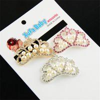 hebilla de cristal de pelo al por mayor-4.5 cm Pearl Crown DIY accesorios para la ropa del pelo hebilla Clear Crystal Rhinestone botones de la corona plana trasera decoración botones adorno B140
