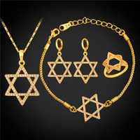 Wholesale cubic zirconia platinum plated sets resale online - Cubic Zirconia Magen David Necklace Set for Women Platinum Plated K Real Gold Plated Star of David Engagement Jewelry Set
