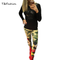 Wholesale Camouflage Cotton Pants Women - Graffiti Pants Green Elastic Waist Pants Cartoon jeans style dresses Slim Pants Camouflage Stretch Trousers Tights trousers