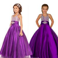 özel yapılmış kız yarışması elbisesi toptan satış-Mor Kızlar Pageant elbise Halter Kabarık Tül Saten Küçük Kızlar Parti Elbiseler Özel Made Pageant Gençler Için Elbiseler