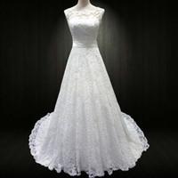Wholesale Simple Slimming Wedding Dresses - Vestido De Novia 2016 New Real Picture White Luxury Wedding Dresses Slim Sexy Sweep Train Full Lace Bride Princess Wedding Gown