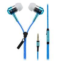 Wholesale Iphone Zipper Earphone - Fashional Zipper Metal Headset Stereo Wired Earphones 3.5mm In-Ear Headphone Earphones For LG HTC Samsung Iphone