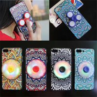 Wholesale Fingertips Iphone - Fingertip Gyro LED Phone Cases Ethnic Style Toys EDC Finger Spinner Phone Case with LED for iPhone 6 6S 6 Plus 7 Plus Focus Phone Cover Case