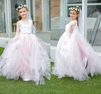Wholesale Cheap Baby Ribbon - Blush Pink Princess Flower Girls Dresses Beaded Appliques Girl Dress For Wedding Party Birthday Party Dresses Baby Pageant Gowns Cheap Long