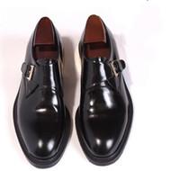 ingrosso tacchi alti-Scarpe Brogue fatte a mano Tacco piatto Nero con fibbia Scarpe da festa in vera pelle