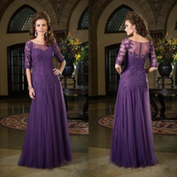 Wholesale Shirred Dress Straps - 2016 LONG FORMAL DRESSES for mother of the bride scoop neck shirred a line half length sleeves purple lace and tulle dresses party evening