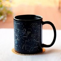 Wholesale ceramic cup magic - Ceramics Change Color Cup Round Twelve Constellations Magic Mug Single Layer With Handle Cups For Office Workers 9hf B