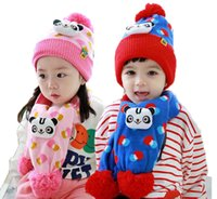 Wholesale Cute Baby Girls Knitting Suits - Retail Unisex Baby Beanies Hat and Scarf Warm Suit Set Children Kids Cute Panda Head Design Bobble Hat Knitted Printed Cap Scarf MZ3086