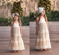 Wholesale Red Line Tires - 2017 Pretty Custom White Champage Lace Flower Girl Dresses Spaghetti Tired Tulle Floor Length Girls Birthday First Communion Dresses