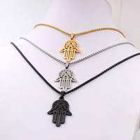 Wholesale fatima hand pendant for sale - Group buy Silver gold black choose Men s ICP L Stainless Steel Black Hand of Fatima Hamsa Pendant with Matching mm inches Box Rolo Chain
