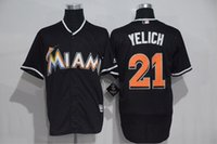 Wholesale Mens Shirts China - Christian Yelich Miami Marlins #21 Black Stitched Jersey Mens M-3XL NEW Material Best Quality Seattle Mariners Shirts Wholesale from China