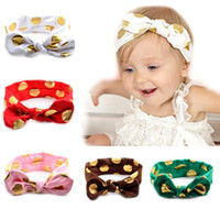 Wholesale Head Ribbons For Baby Girls - 12 Color Baby Gilding Dot Headband Infant Boy Girl Solid Color Head Wear for Choose Hair Accessories with Bowknot K7066