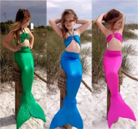 Wholesale Kid Girls Swimsuit Sexy - 4 Color Girls sexy Mermaid Tail Swimmable Swimming Costume Swimsuit Bikini Set baby kids 3 pieces set Swimwear suit 3-8Y