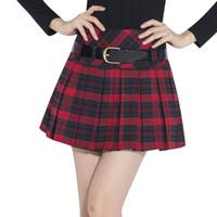 Wholesale Short Pleated Plaid Skirt - 2016 pleated plaid mini skirt high waist skater skirt - Red black Preppy Style students plaid skirt