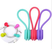 Wholesale Cable Wire Cords Organizer - Hot Multifunction Magnet Silicone Earphone Headphone Cord Winder USB Cable Holder Strap Magnetic Organizer Gather Clips Colorful