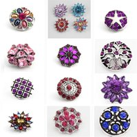 Wholesale Newest styles High Quality Luxurious Rhinestones Metal Snap Buttons Mixed Styles DIY Snaps Charms Jewelry accessories