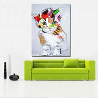 Wholesale Cat Hand Oil Painting - Wholesale Price Hand Made Abstract Lovely Cat Oil Painting On Canvas Animal Oil Painting Living Room Decor Picture