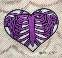 Wholesale rib cage for sale - Group buy Heart Skeleton Rib Cage Halloween Applique Iron On Patch Punk Gift Undead Cartoon Gift Costume Decoration High Quality