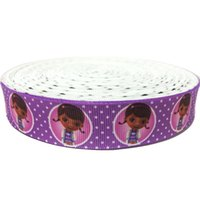 Wholesale Wholesale Polyester Webbing - 7 8 inch Cartoon Princess Purple Polka Dots Printed Grosgrain Ribbon Craft 22mm Customized Polyester Webbing Accessory Cintas Ruban 50Yards