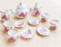 Wholesale Dollhouse Cups - Wholesale-Lot of 15 Pink Flower Porcelain Dollhouse Miniature Coffee Tea Cup Set DC140