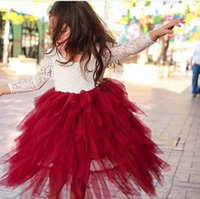 Wholesale Tutu Dress Colours - Kids flowers princess dress fashion girls lace long sleeve splicing tiered falbala tulle long dress children christmas party dresses T0166