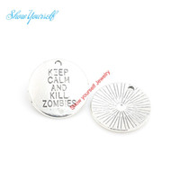 10pcs Words Keep Calm and Kill Zombies Charms Tibetan Silver Pendant DIY 20*20mm
