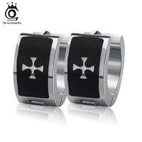 Wholesale Black Rhinestone Hoop Earrings - Wholesale Chic Black Cross Earrings 1Pair Cool Punk Women Stainless Steel Hoop Piercing Round Earring GTE09