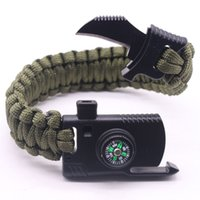 Wholesale Kit Family Band - Military Army Camping Hiking Climbing Para cord Bracelet Survival Gear Kit Whistle Lifesaving Braided Rope Military Wrist Band