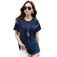 Wholesale Diamonds Shirt Womens - Wholesale- Summer Womens Diamonds Top Solid Short Sleeve T Shirt Female Casual Loose Large Size T-shirt Tops Tees For Women 2016 CSA251