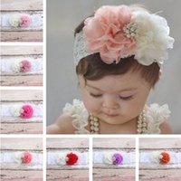 Wholesale Chiffon Flower Headband Pearls - 15 colors Children's hair accessories Headbands With gauze flowers lace pearl hair with Baby Flowers Chiffon combination hair Hair Sticks 57