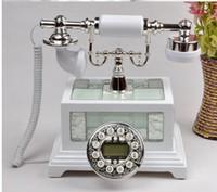 Wholesale Light Fitting Types - large Villa luxury European antique telephone retro creative antique Telephone Phone Vintage Wood Home Fitted Landline